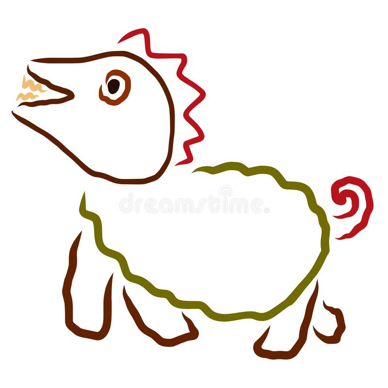Смешной чертеж детей, маленький веселый динозавр иллюстрация вектора