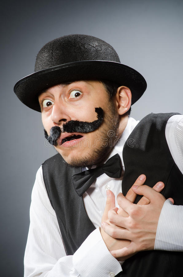 Смешной человек в винтажной концепции стоковое фото rf