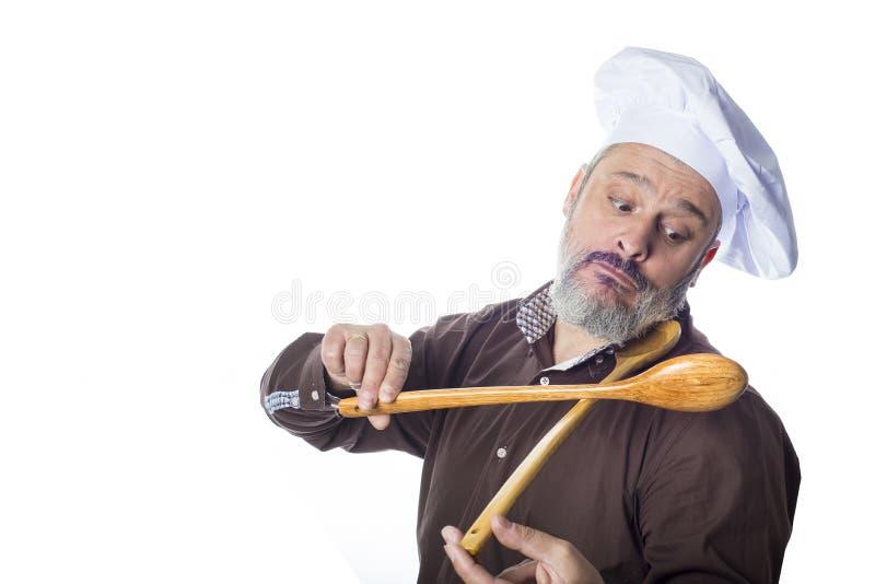 Смешной человек кашевара изолированный на белой предпосылке стоковая фотография rf