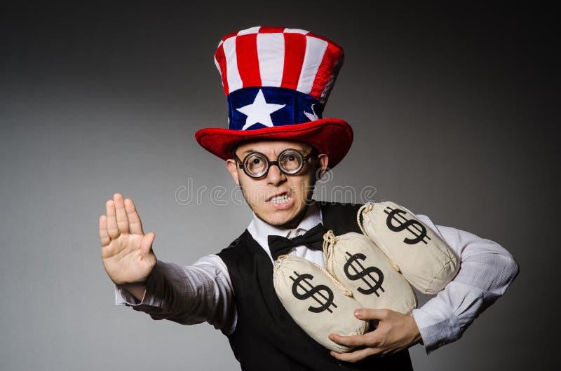 Смешной человек с американской шляпой стоковое фото rf