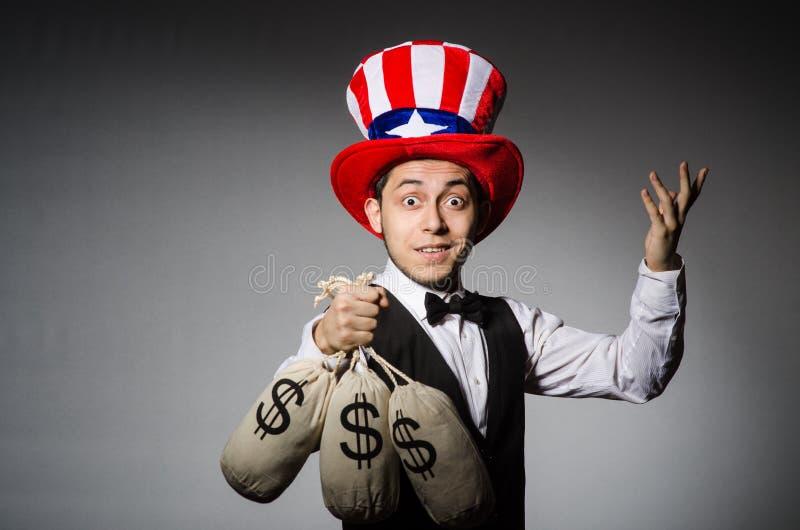Смешной человек с американской шляпой стоковые фотографии rf