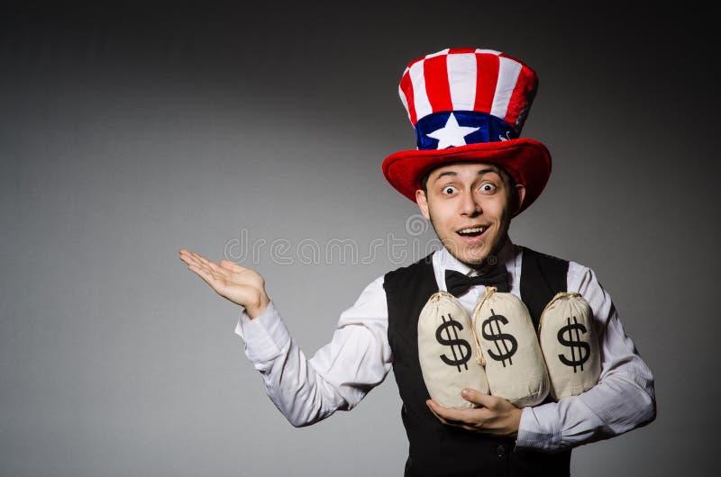 Смешной человек с американской шляпой стоковые изображения rf