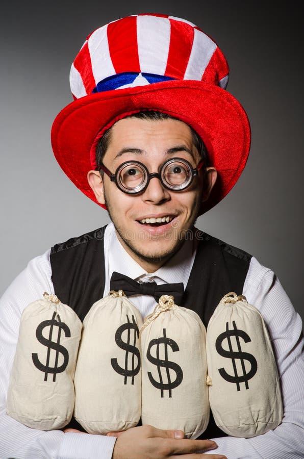 Смешной человек с американской шляпой стоковая фотография