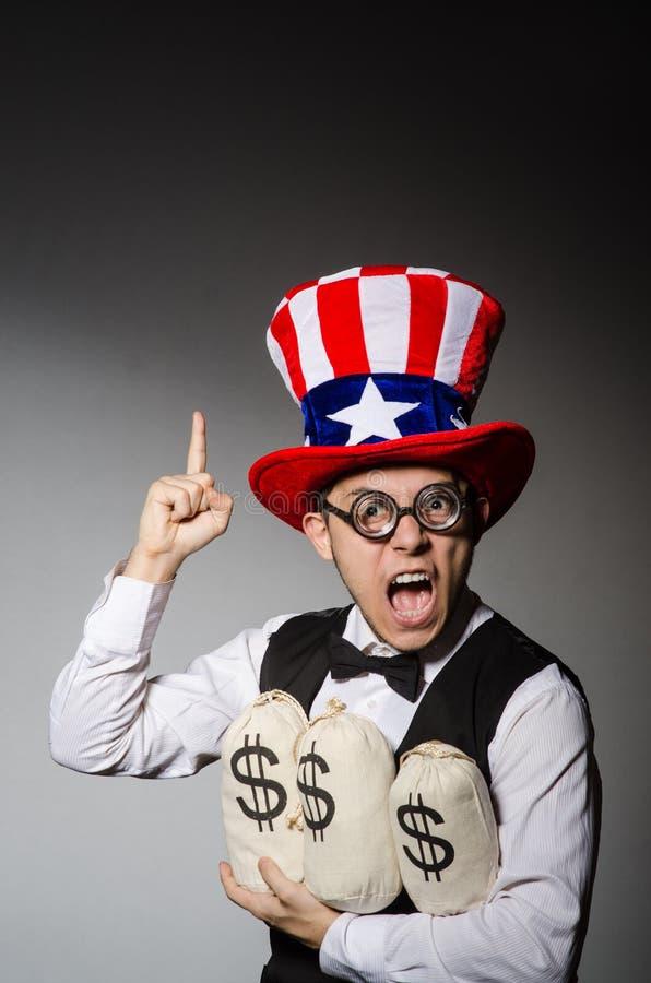 Смешной человек с американской шляпой стоковое изображение rf