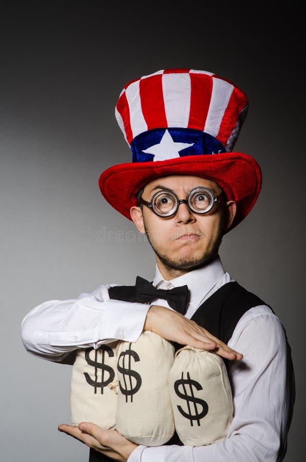 Смешной человек с американской шляпой стоковые изображения