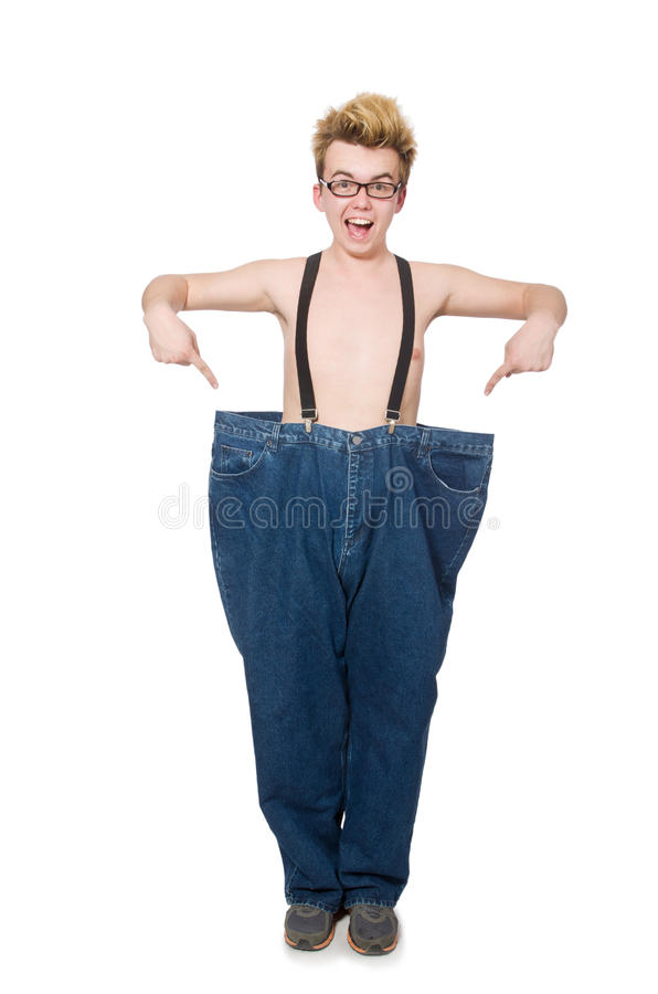 Смешной человек с брюками стоковое изображение