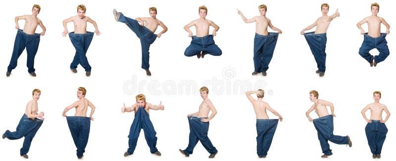 Смешной человек с брюками стоковая фотография rf