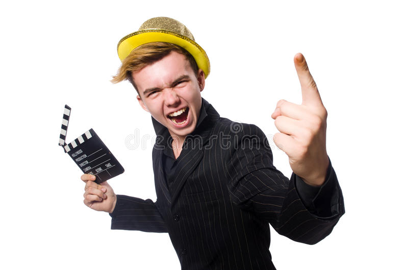 Смешной человек с clapboard кино стоковая фотография