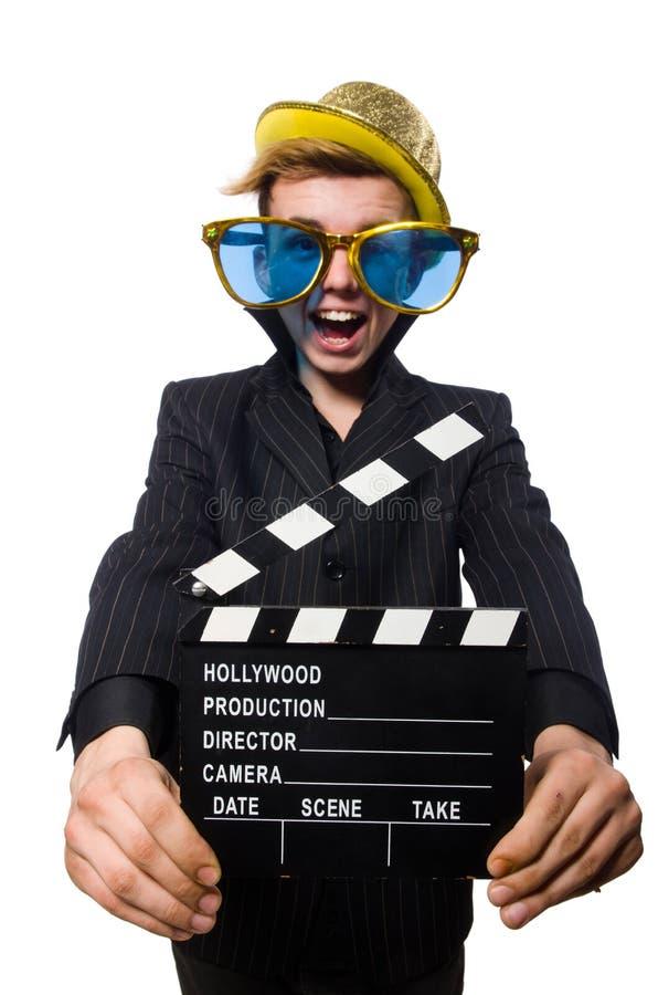 Смешной человек с clapboard кино стоковое изображение rf