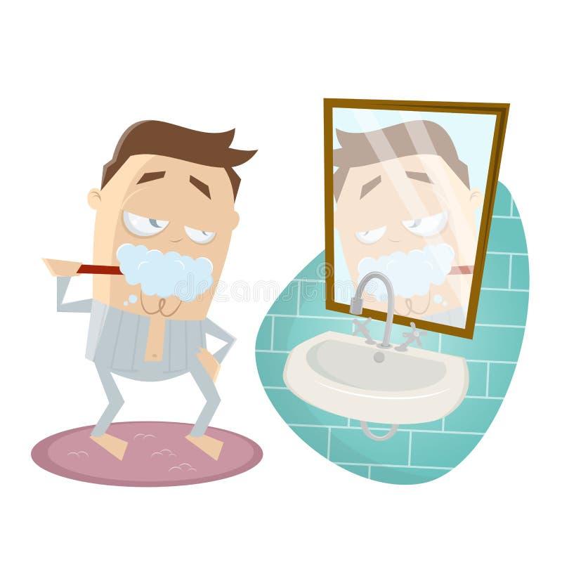 Смешной человек шаржа чистя его зубы щеткой иллюстрация штока