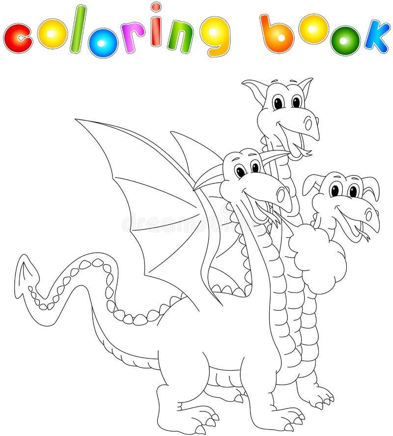 Смешной шарж 3 возглавил дракона Книжка-раскраска для детей иллюстрация штока