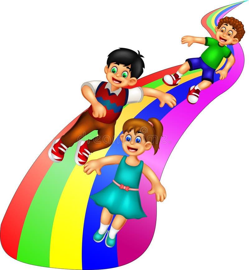 Смешной шарж детей играя скольжение с улыбкой и развевать иллюстрация штока