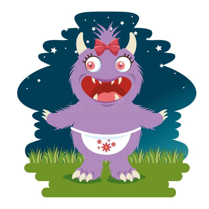 Смешной шарж дракона иллюстрация вектора