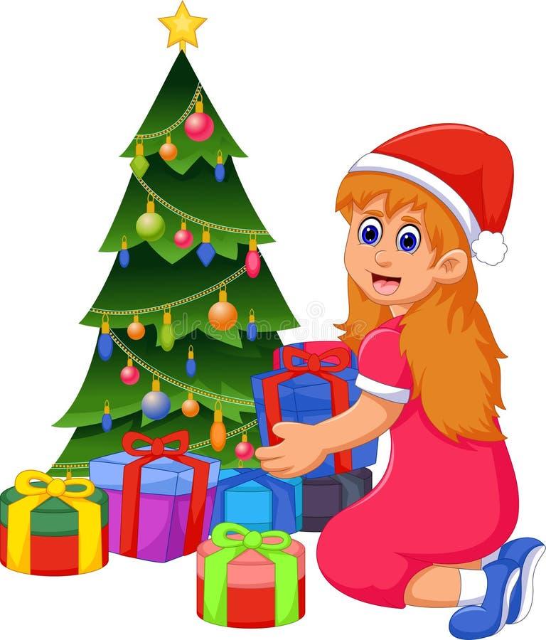 Смешной шарж девушки с подарком и рождественской елкой рождества иллюстрация вектора