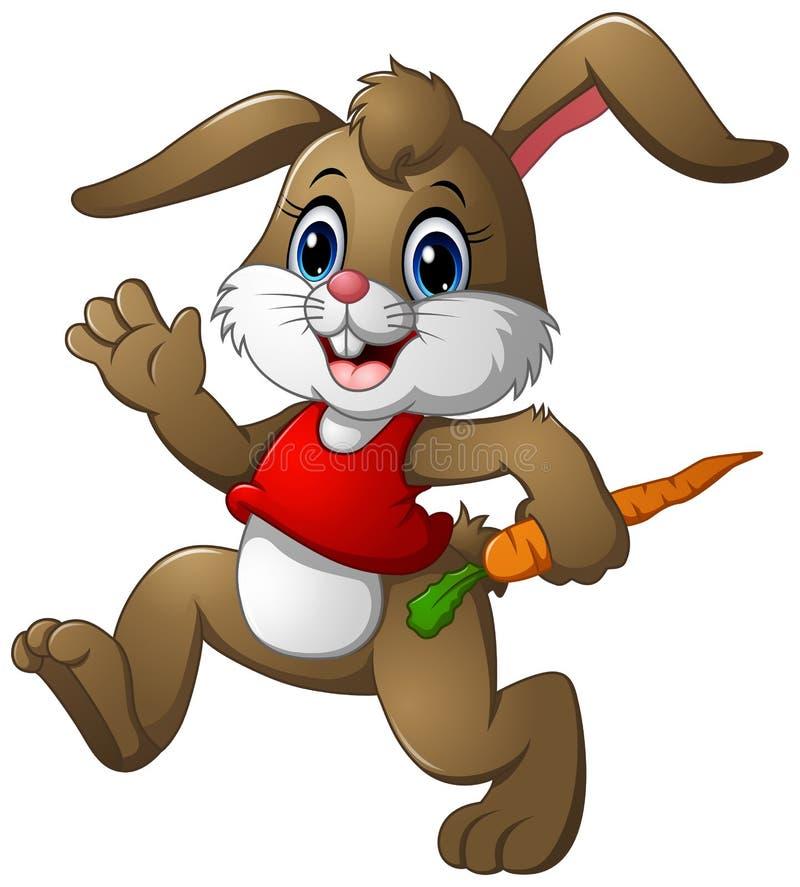 Смешной шарж кролика держа морковь иллюстрация вектора