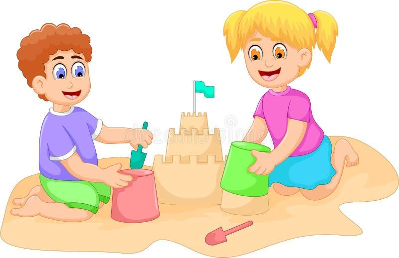 Смешной шарж мальчика и девушки играя песок иллюстрация штока