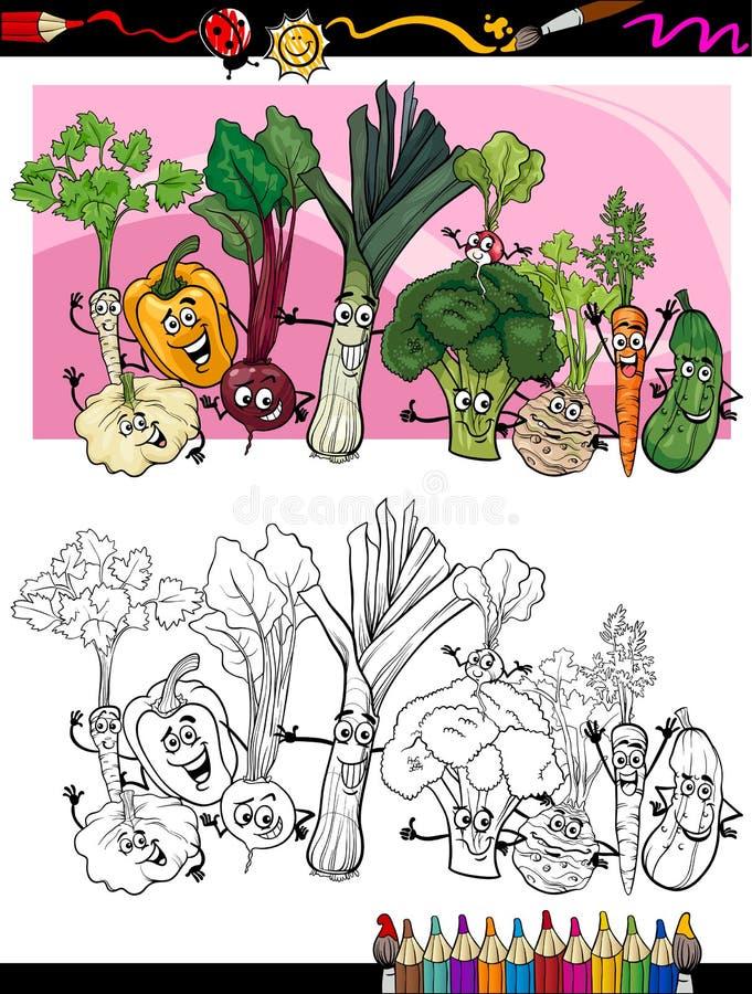 Смешной шарж овощей для книжка-раскраски иллюстрация вектора