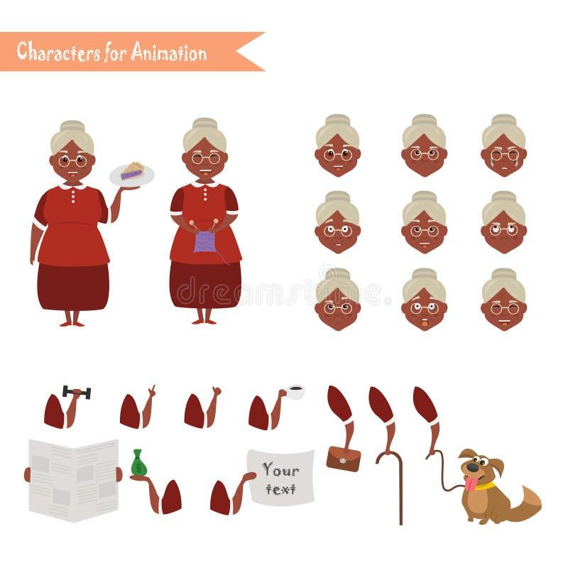 Смешной шарж домохозяйки бабушки иллюстрация штока