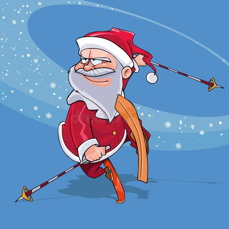 Смешной шарж Санта Клаус скачет на лыжи бесплатная иллюстрация