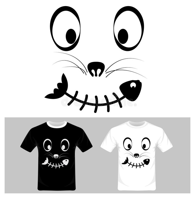 Смешной шарж стороны кота с вектором рыб Графический дизайн футболки иллюстрация штока