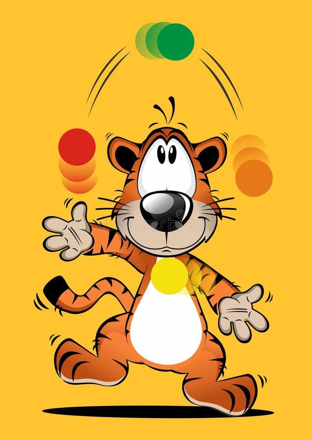 Смешной шарж тигра играя шарик иллюстрация штока