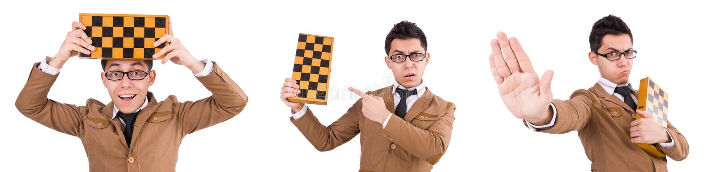 Смешной шахматист изолированный на белизне стоковые изображения rf