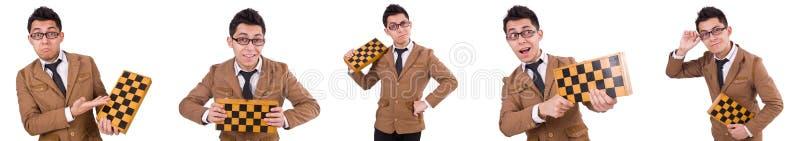Смешной шахматист изолированный на белизне стоковая фотография rf