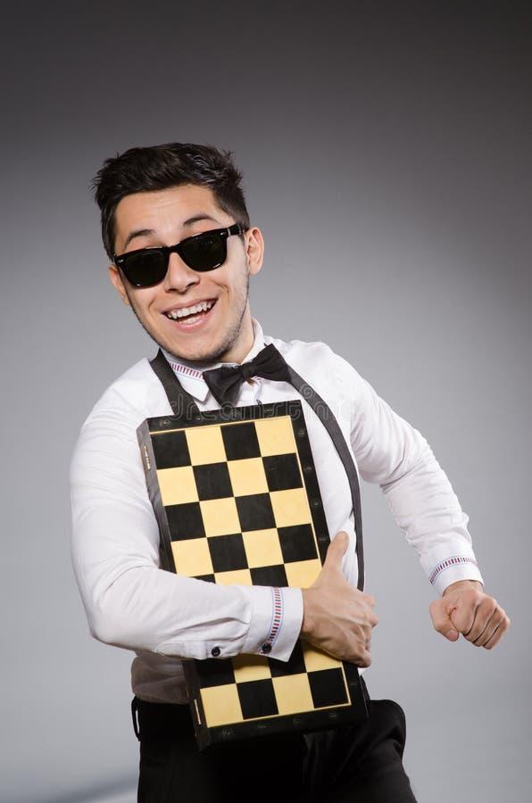 Смешной шахматист стоковое фото rf