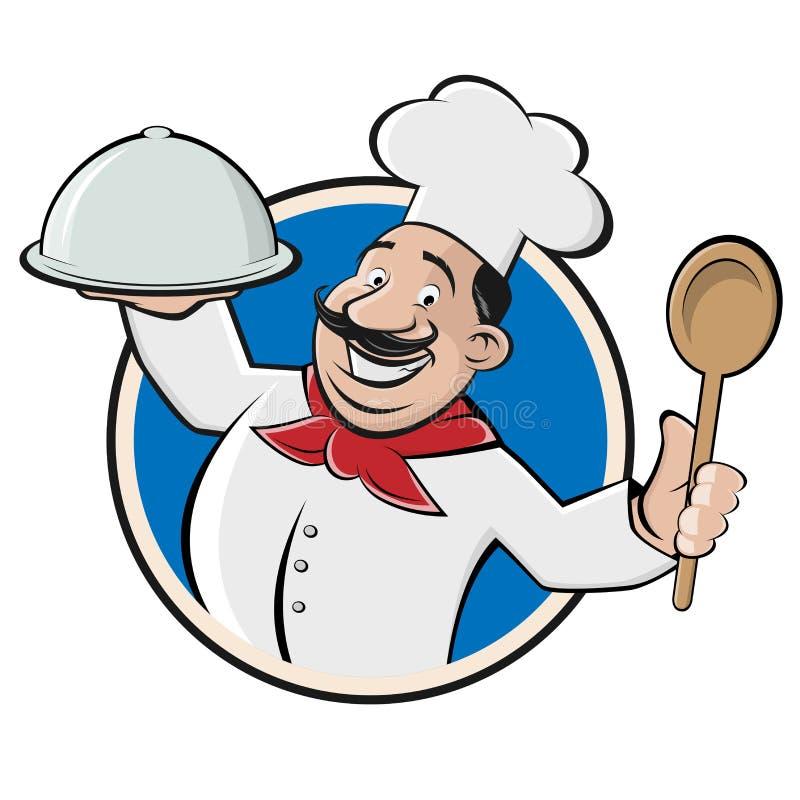 Смешной шеф-повар ресторана с cloche и ложкой бесплатная иллюстрация