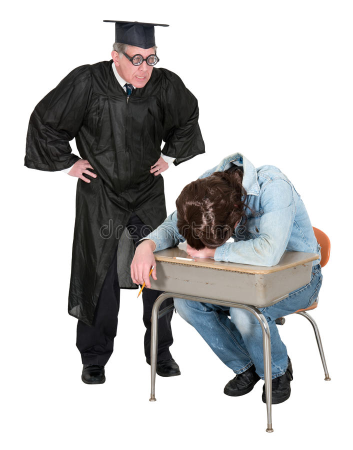Смешной школьный учитель или профессор коллежа, студент стоковое фото rf