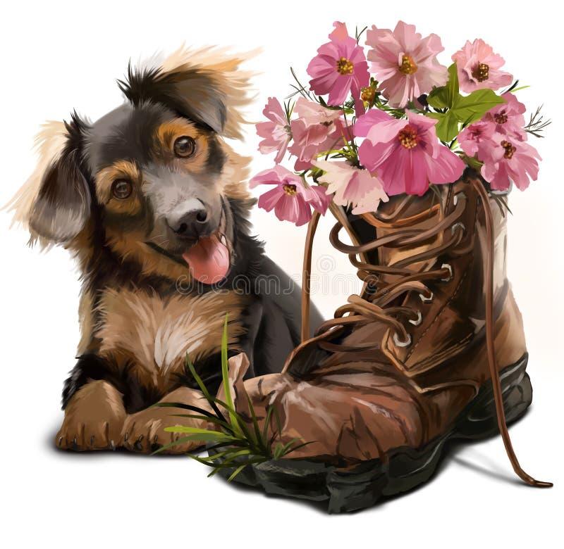 Смешной щенок и ботинки с цветками иллюстрация вектора
