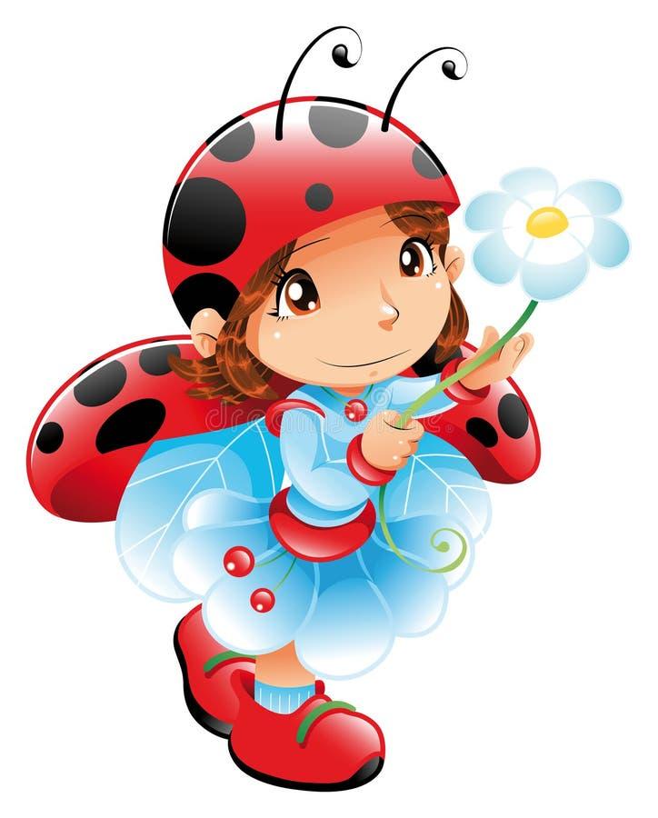 смешной ladybug девушки иллюстрация вектора