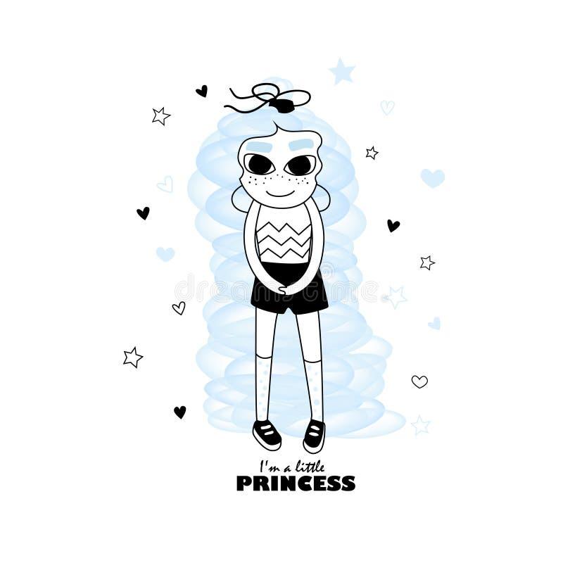 смешной princess Милая иллюстрация вектора питомника девушки doodle для объявлений, открытки, плаката, печати и веб-дизайна стоковые фотографии rf
