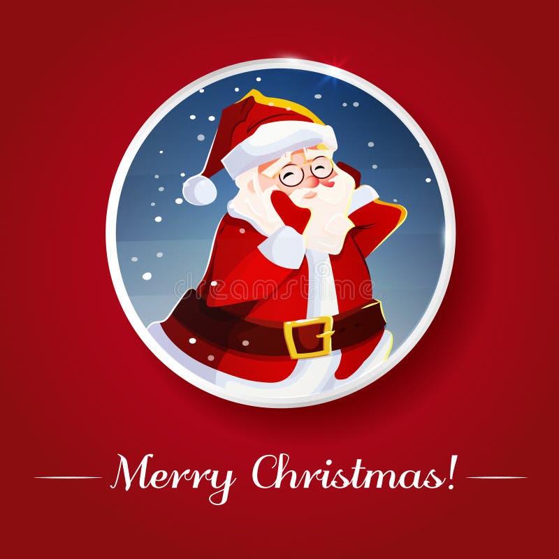 смешной santa приветствие рождества карточки плакат предпосылки также вектор иллюстрации притяжки corel иллюстрация штока