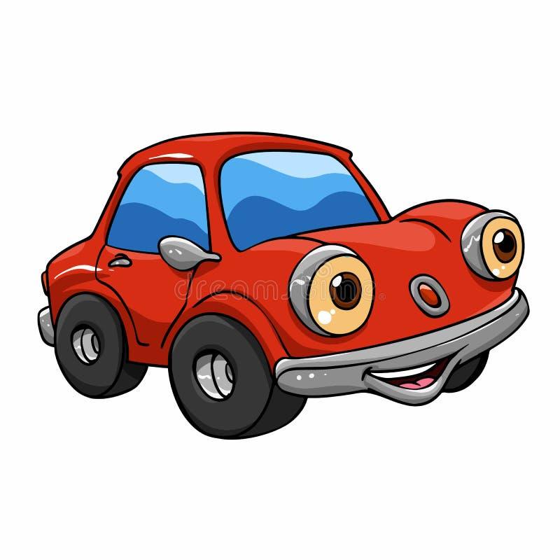 Смешные автомобили мультфильма - красный мультфильм автомобиля иллюстрация штока