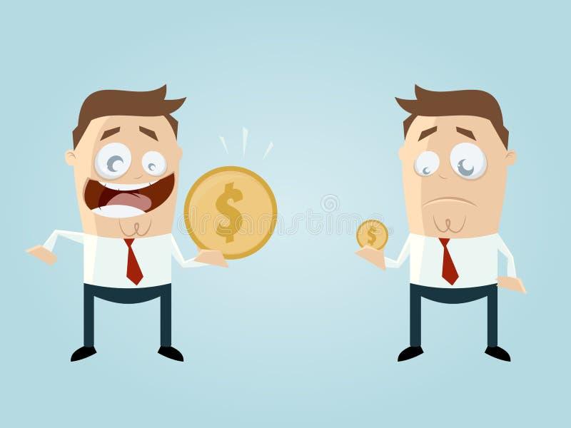 Смешные бизнесмены сравнивая их доход иллюстрация штока