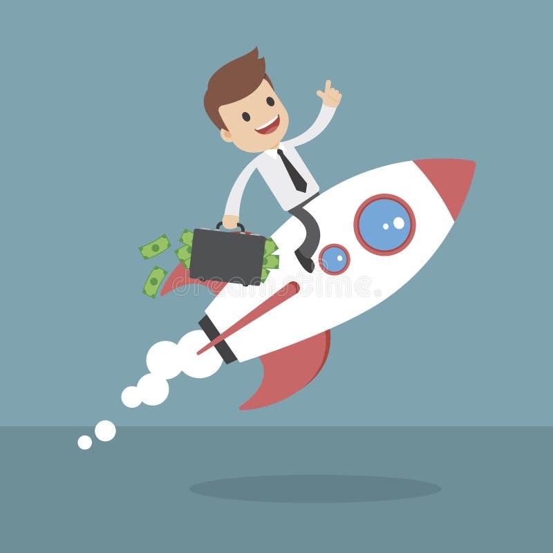 Смешные бизнесмены шаржа на ракете иллюстрация вектора