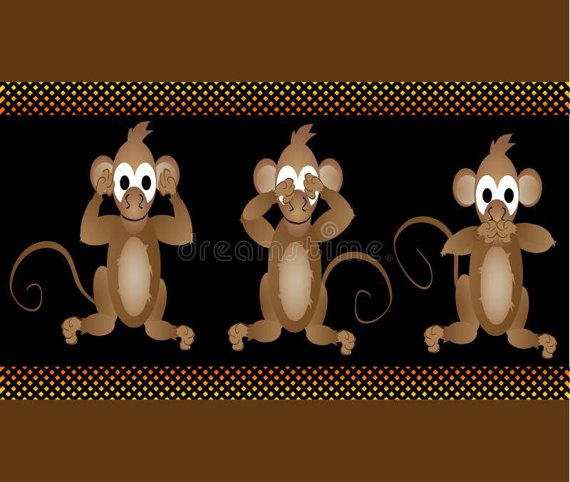 Смешные велемудрые обезьяны не видят, что никакое зло слышит, что никакое зло поговорило иллюстрация вектора