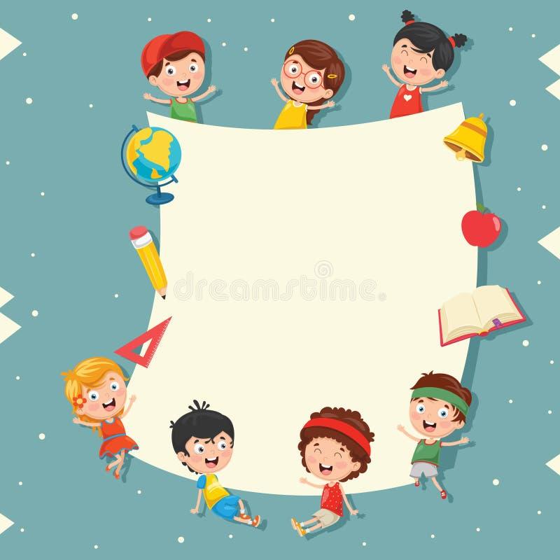 Смешные дети проводя пустой плакат иллюстрация штока