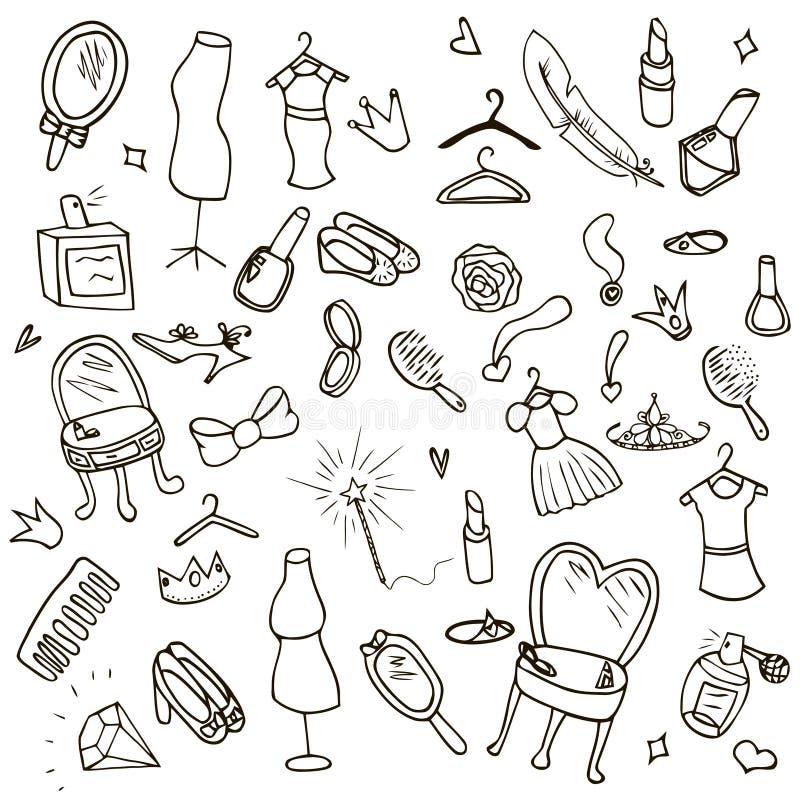 Смешные дети рисуя комплект doodle иллюстрация штока