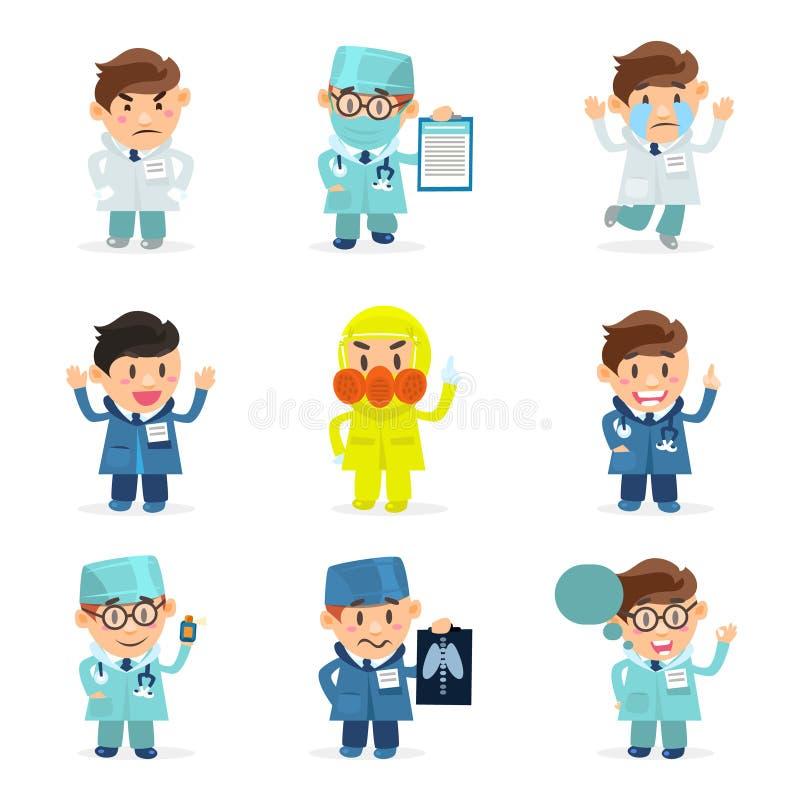 Смешные доктора Характер Устанавливать, медицинский персонал больницы, мужские доктора с различной иллюстрацией вектора эмоций иллюстрация вектора