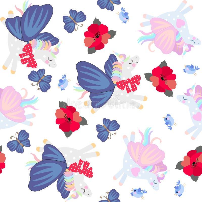 Смешные единороги летая с крыльями бабочек и красных цветков мака изолированных на белой предпосылке Безшовный орнамент бесплатная иллюстрация