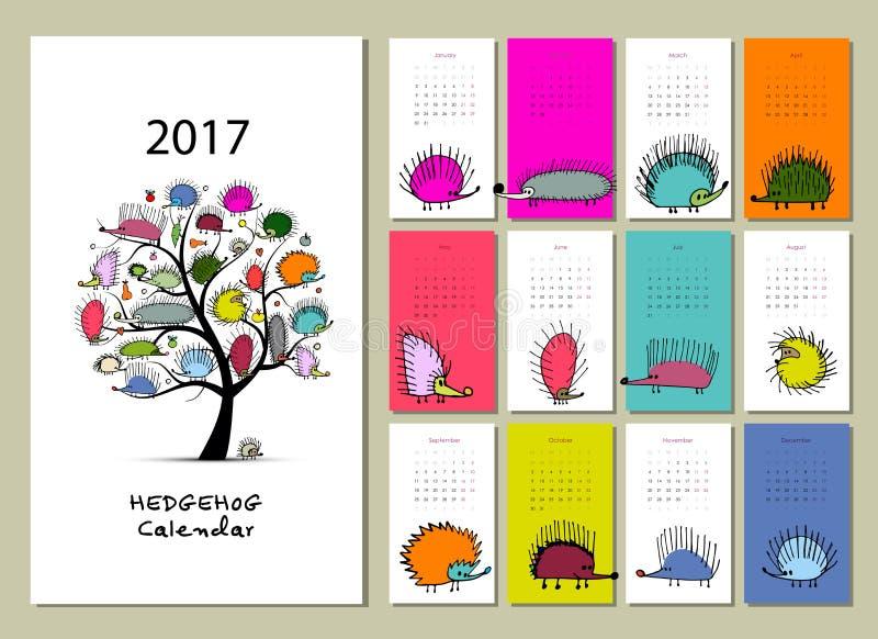 Смешные ежи, дизайн календаря 2017 бесплатная иллюстрация