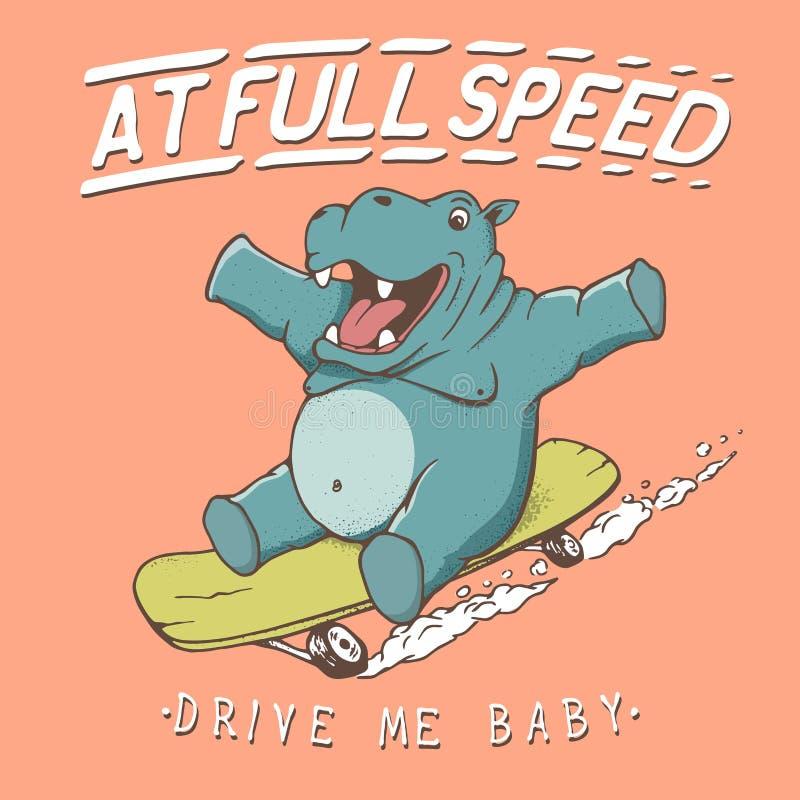 Смешные езды бегемота на скейтборде бесплатная иллюстрация