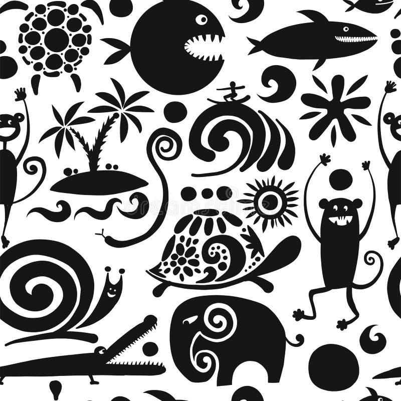 Смешные животные, безшовная картина для вашего дизайна иллюстрация штока
