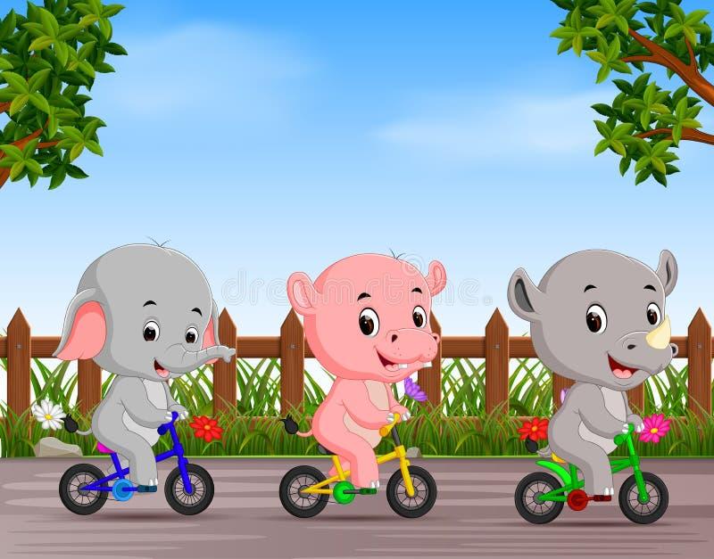 Смешные животные задействуя в дороге иллюстрация вектора