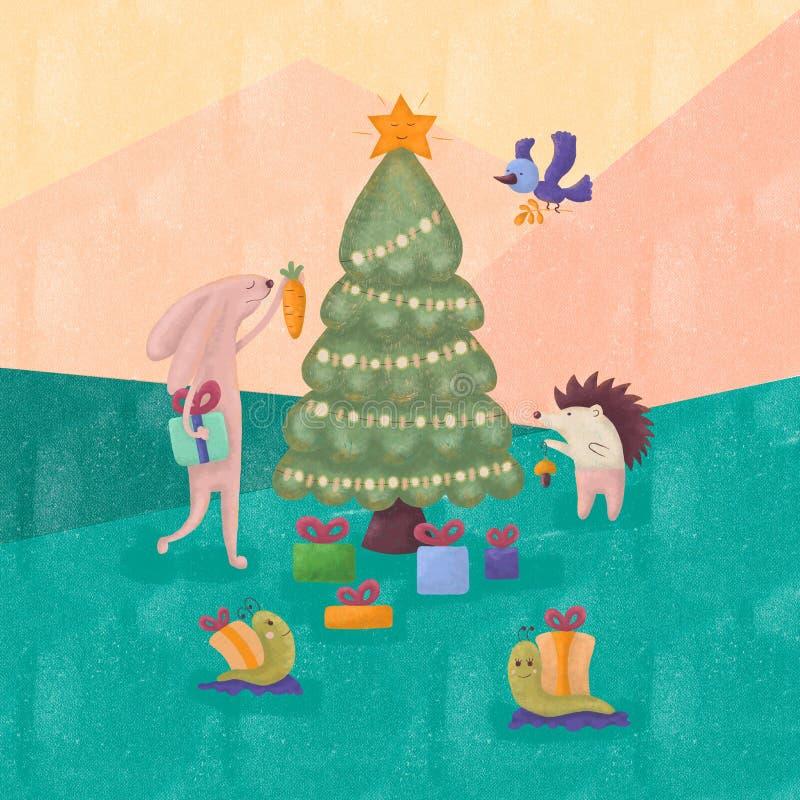 Смешные животные празднуют Новый Год в лесе стоковые фото