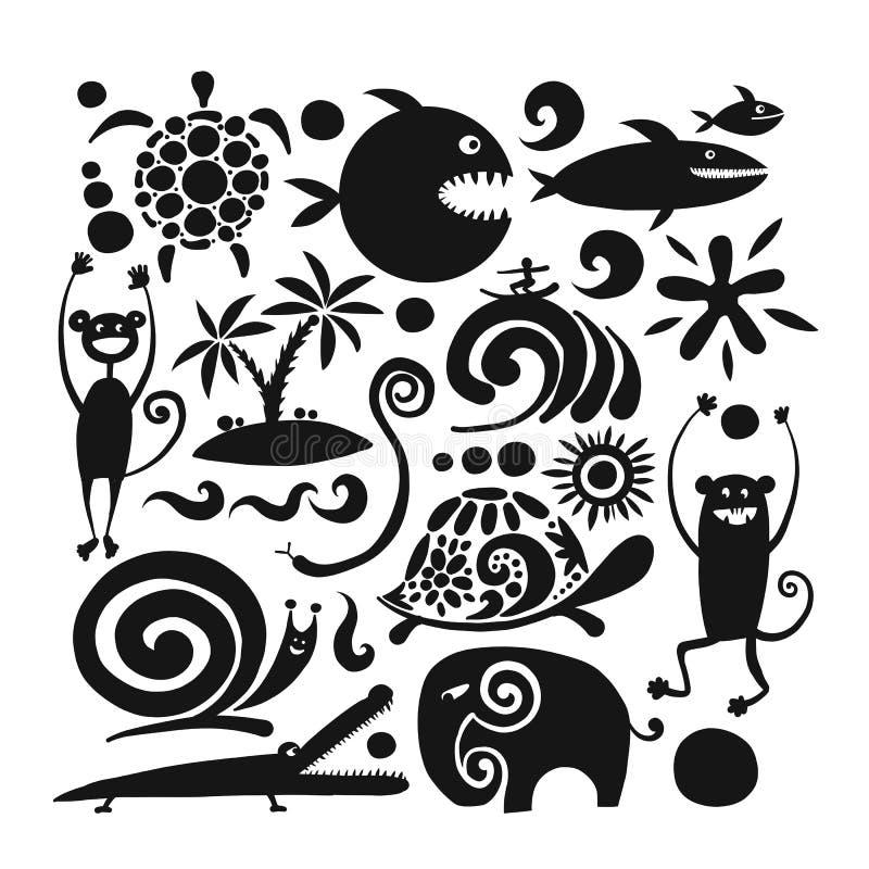 Смешные животные, черный силуэт для вашего дизайна бесплатная иллюстрация