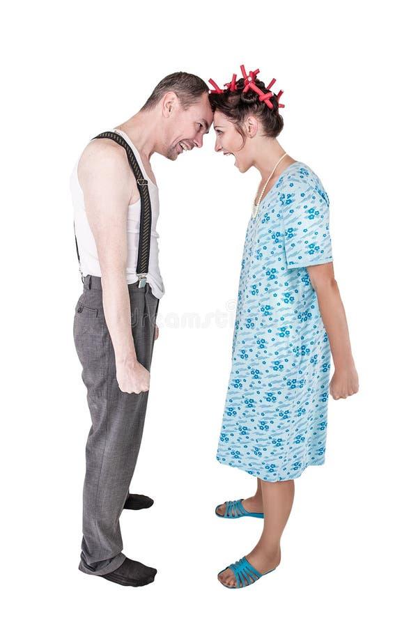 Смешные изолированные пары семьи с проблемой отношения стоковая фотография rf