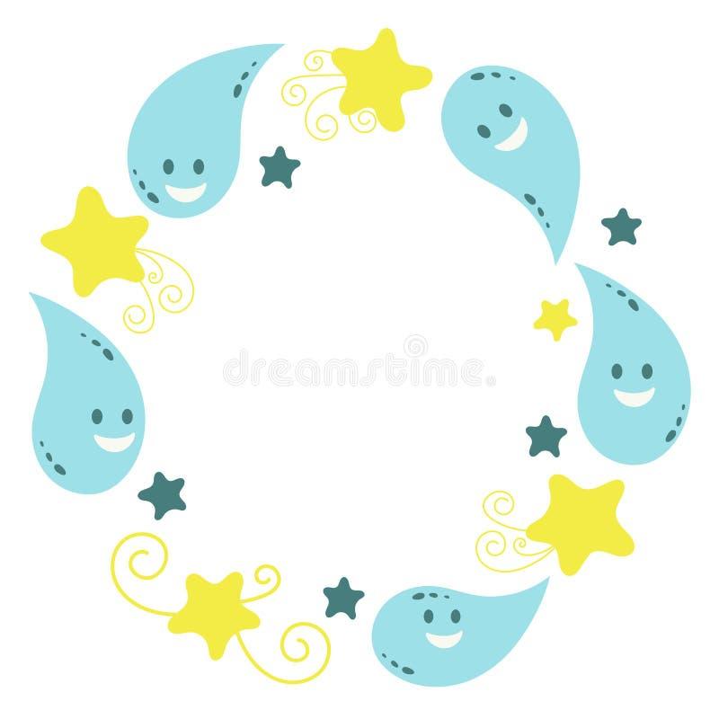 Смешные капельки воды Рамка для поздравлений, приветствий r бесплатная иллюстрация